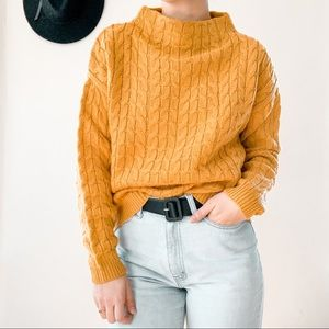 MANGO | Mustard Cable Knit Mock Neck Sweater Sz XS